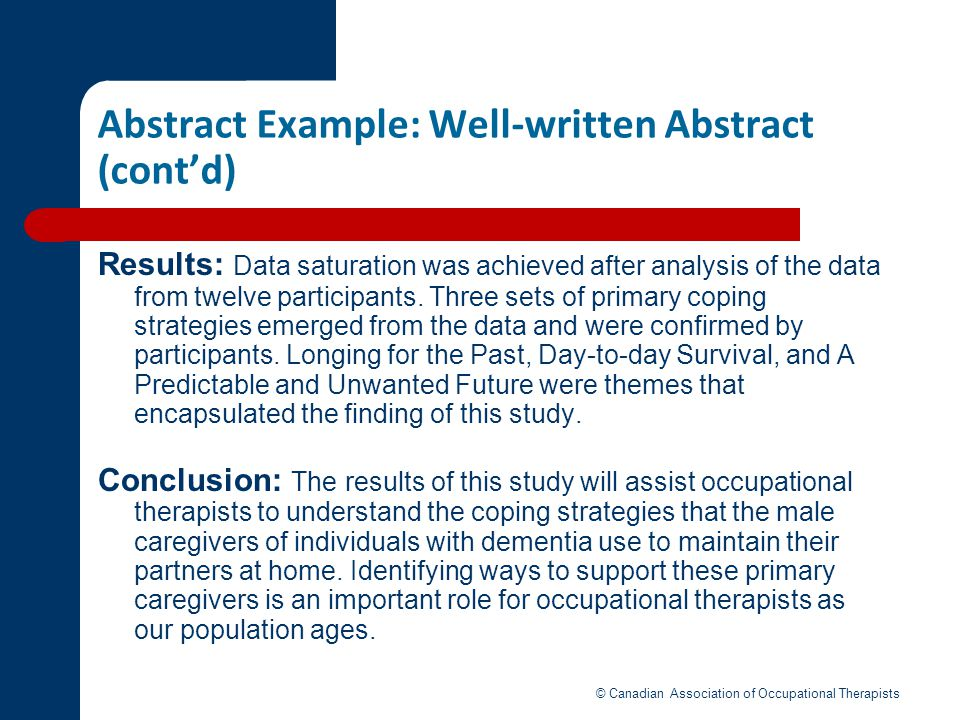 Abstract Example: Well-written Abstract (cont'd)
