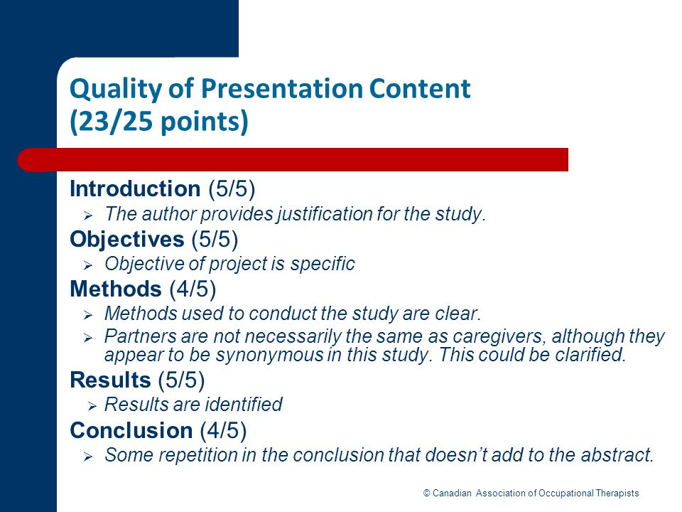 Quality of Presentation Content (23/25 points)