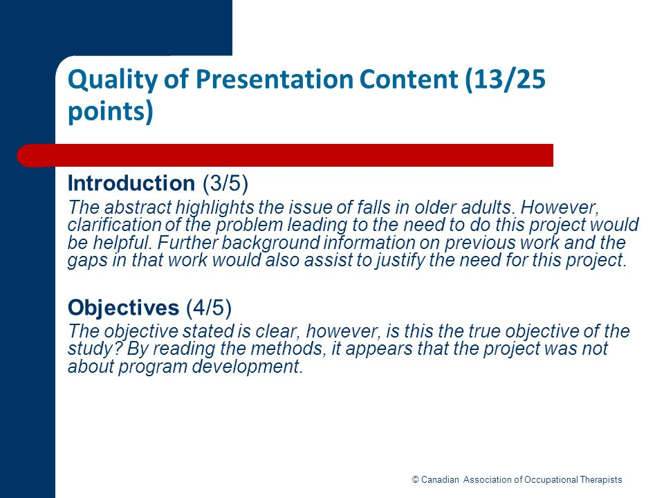 Quality of Presentation Content (13/25 points)