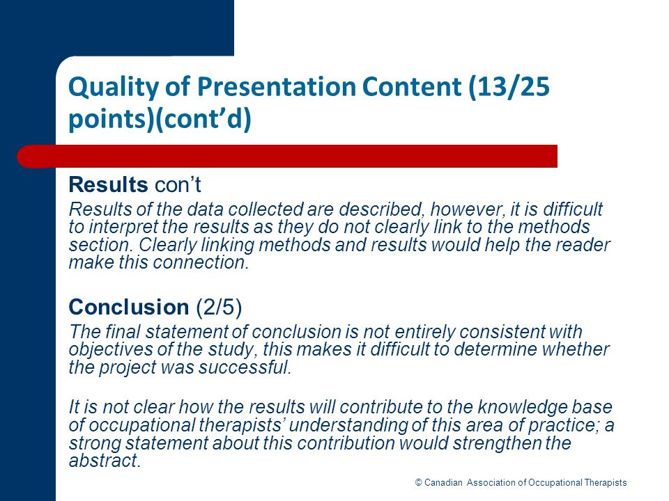 Quality of Presentation Content (13/25 points)(cont'd)