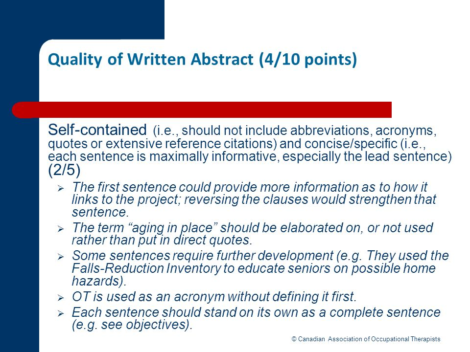 Quality of Written Abstract (4/10 points)