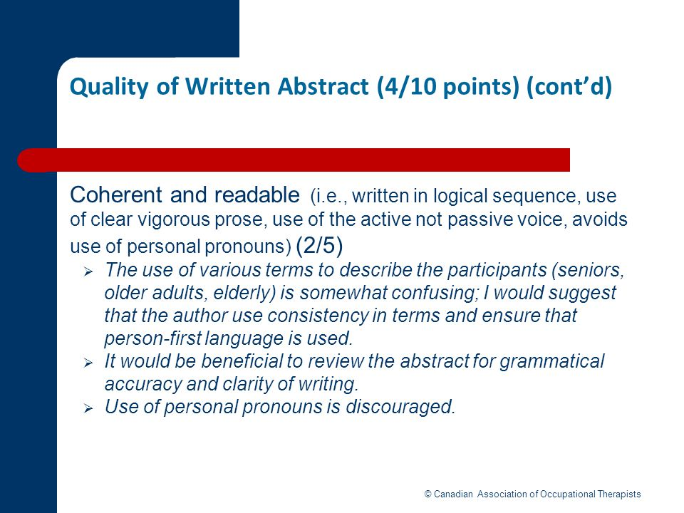 Quality of Written Abstract (4/10 points) (cont'd)
