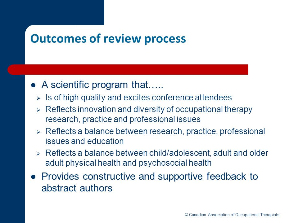 Outcomes of review process
