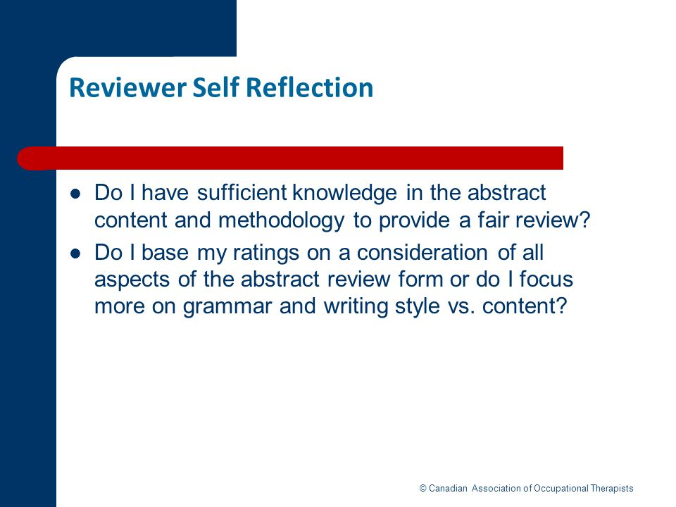 Reviewer Self Reflection