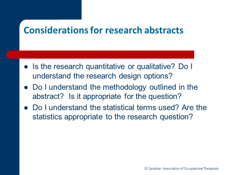 Considerations for research abstracts