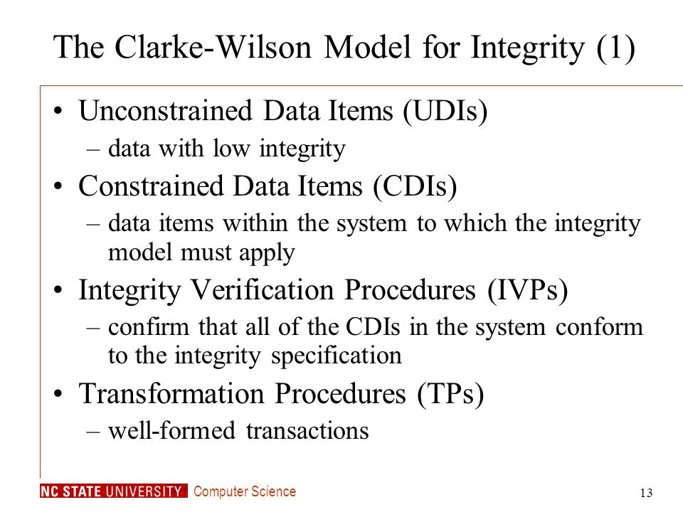 The Clarke-Wilson Model for Integrity (1)
