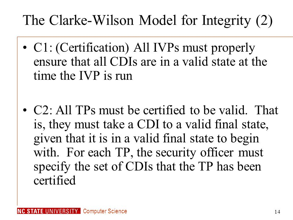 The Clarke-Wilson Model for Integrity (2)