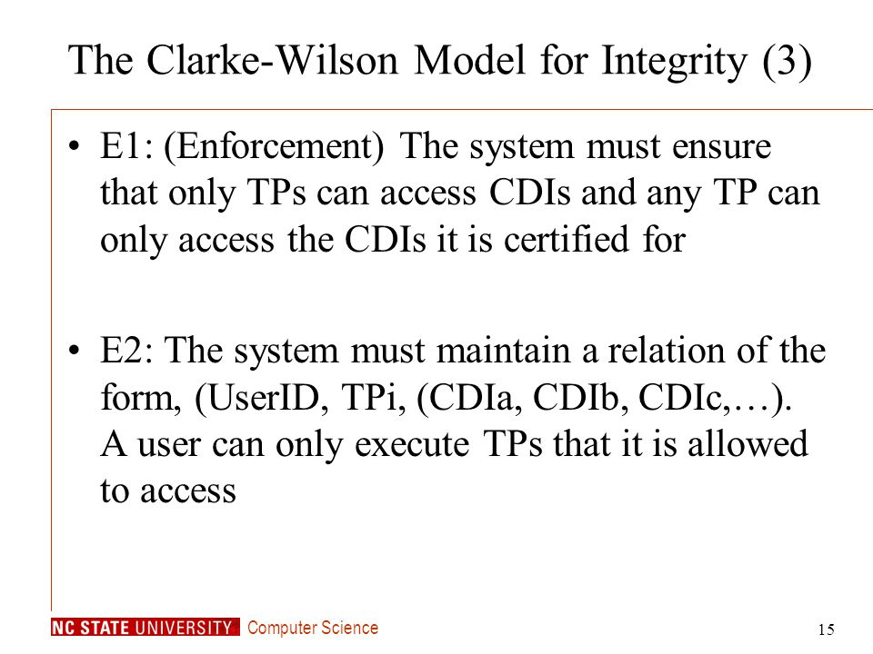 The Clarke-Wilson Model for Integrity (3)