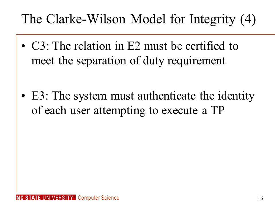 The Clarke-Wilson Model for Integrity (4)