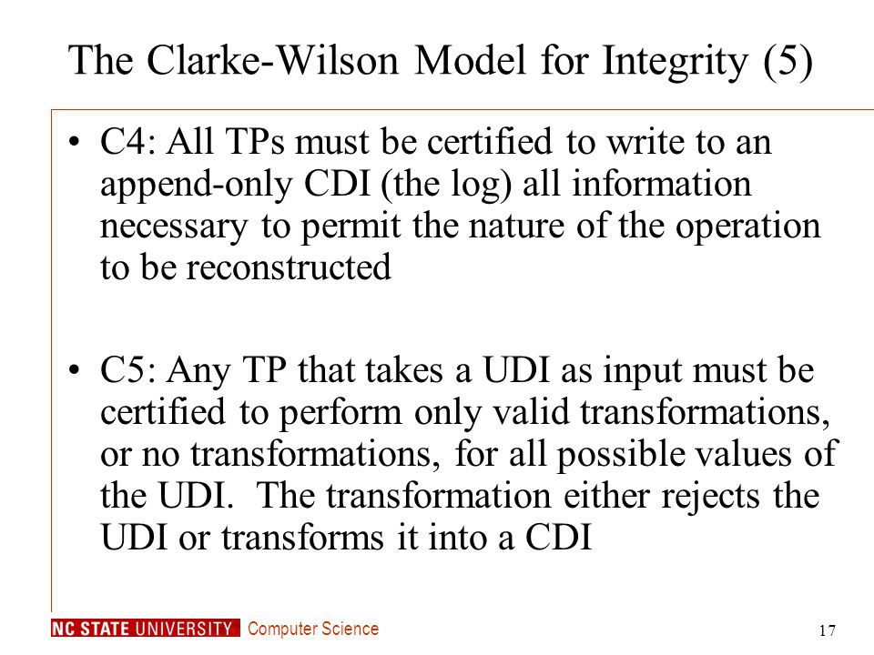 The Clarke-Wilson Model for Integrity (5)