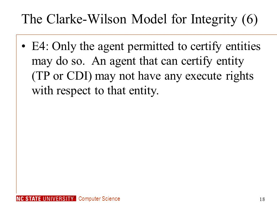 The Clarke-Wilson Model for Integrity (6)