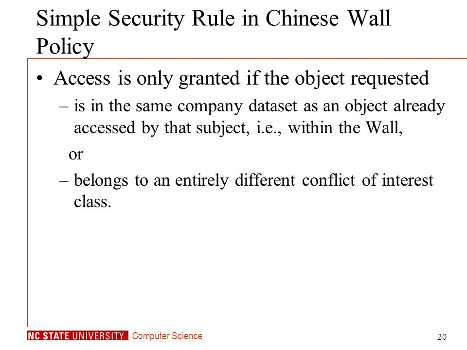 Simple Security Rule in Chinese Wall Policy