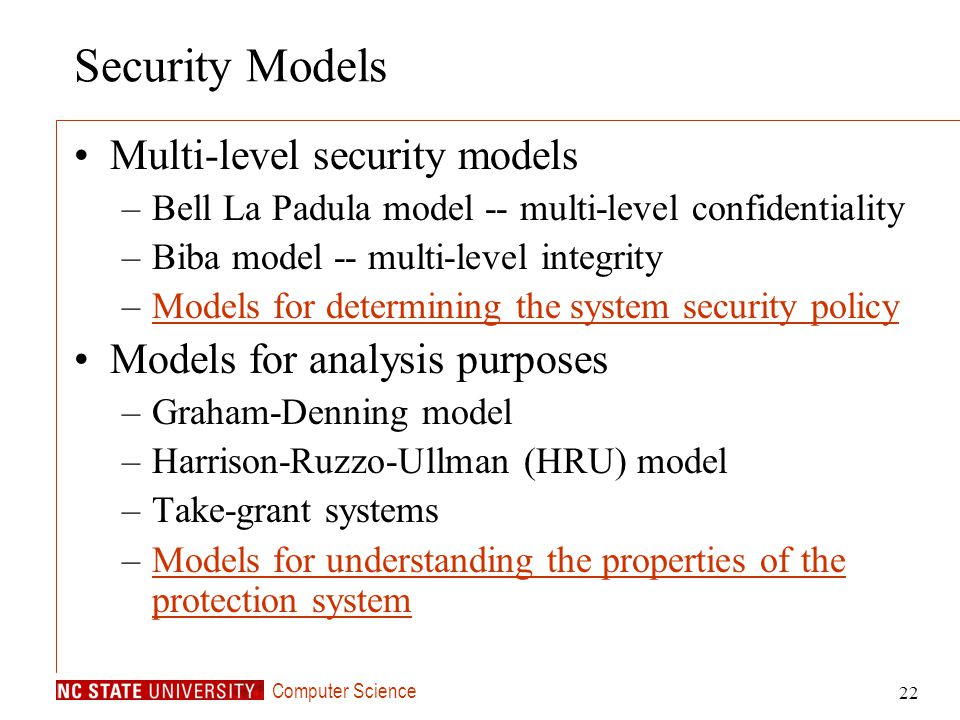 Security Models Multi-level security models