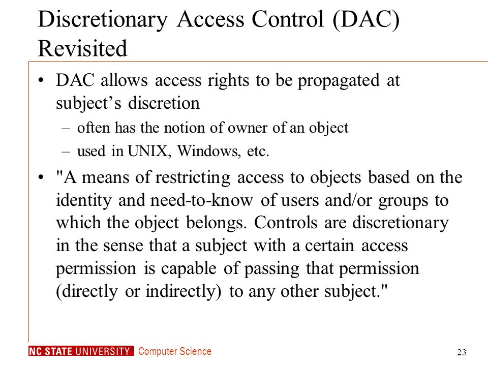 Discretionary Access Control (DAC) Revisited