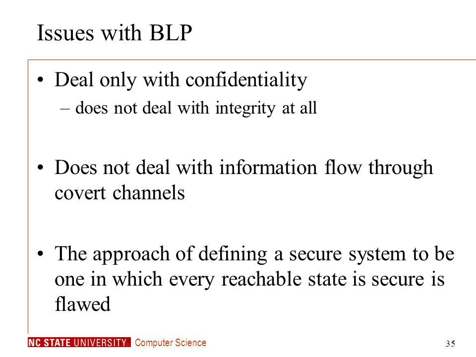 Issues with BLP Deal only with confidentiality