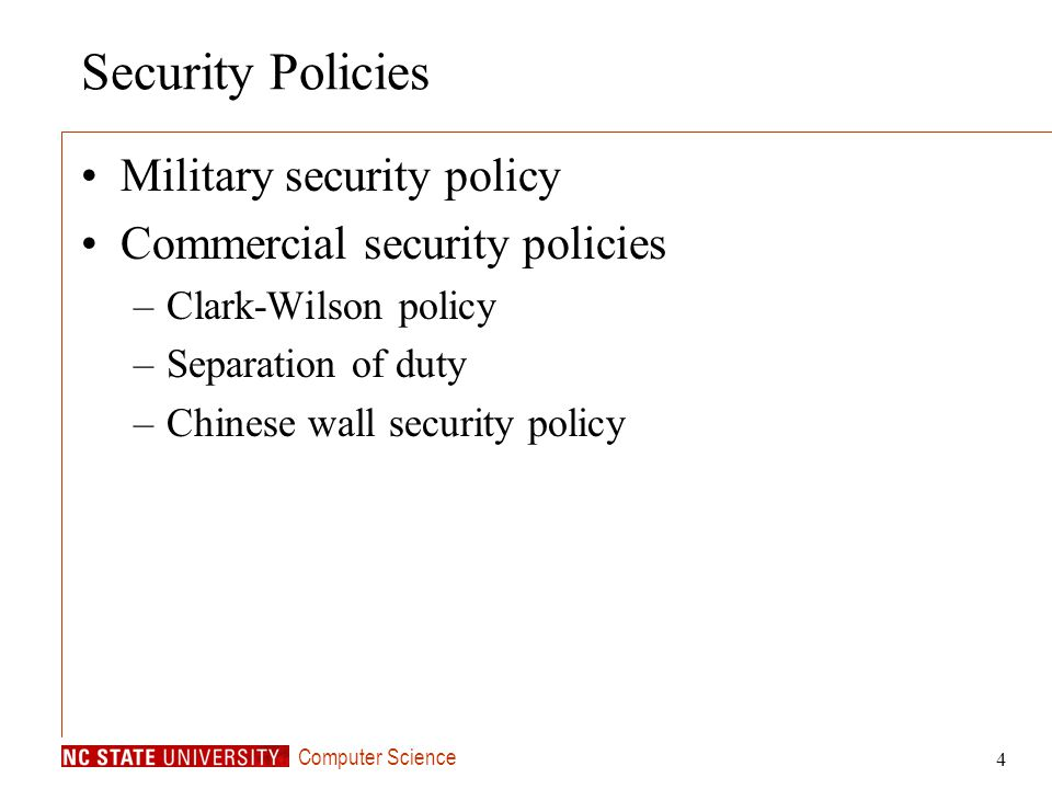 Security Policies Military security policy