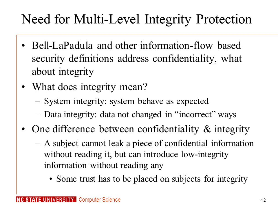 Need for Multi-Level Integrity Protection