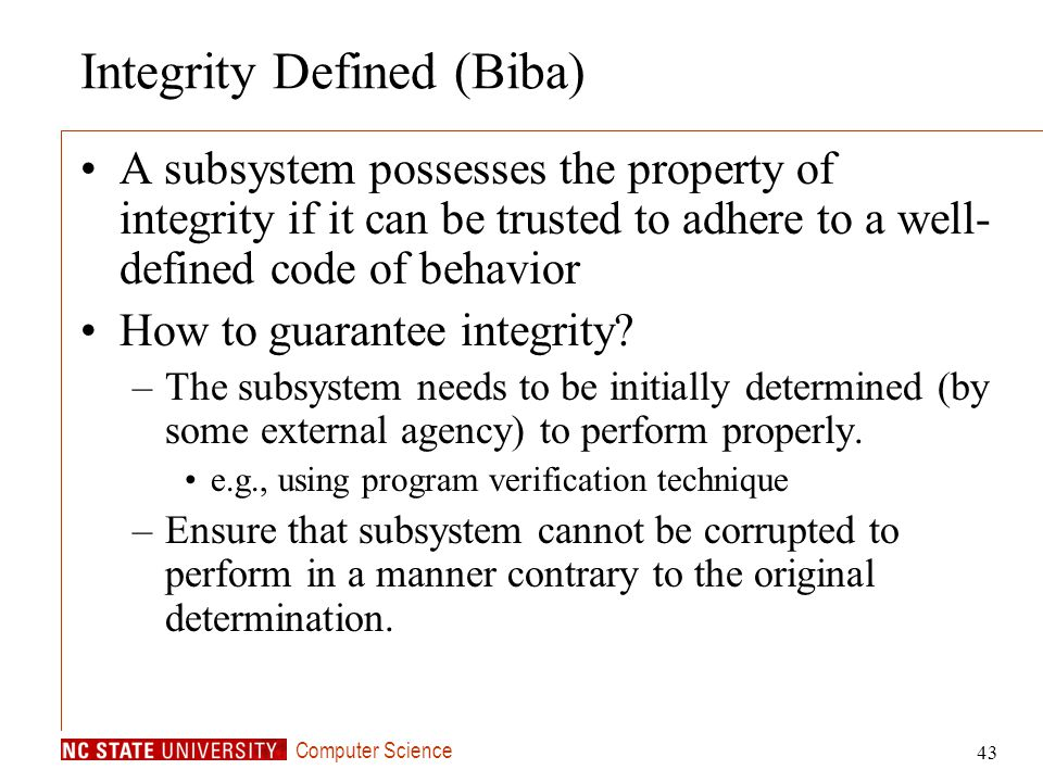 Integrity Defined (Biba)