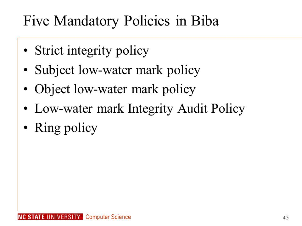 Five Mandatory Policies in Biba
