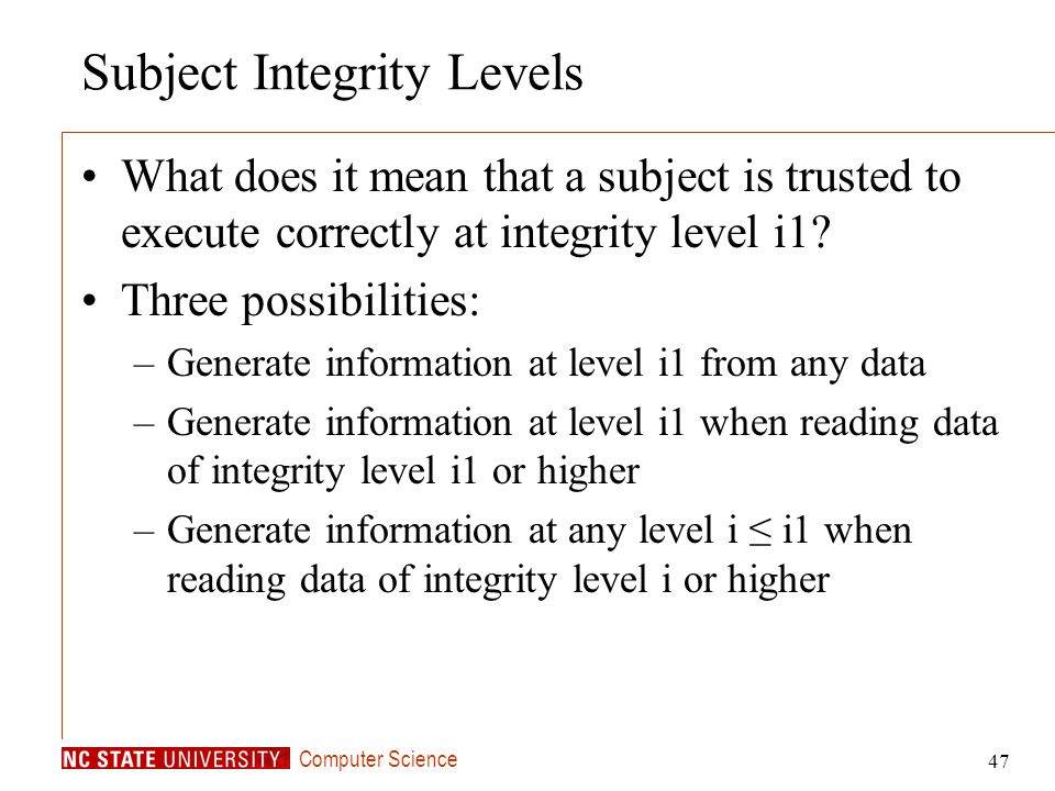 Subject Integrity Levels