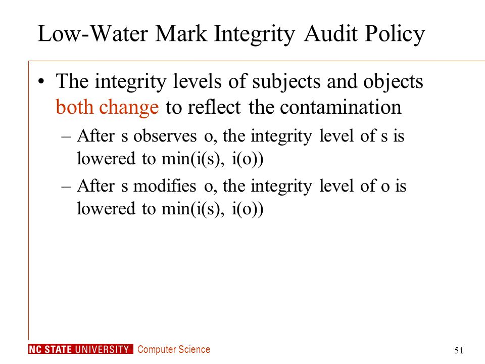 Low-Water Mark Integrity Audit Policy