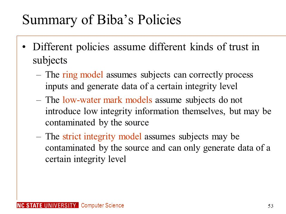 Summary of Biba's Policies