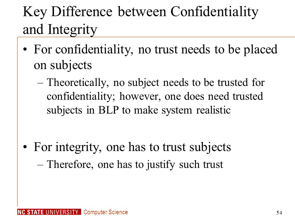 Key Difference between Confidentiality and Integrity