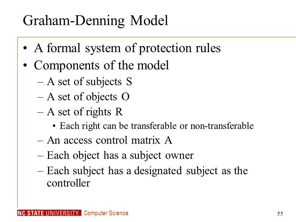Graham-Denning Model A formal system of protection rules
