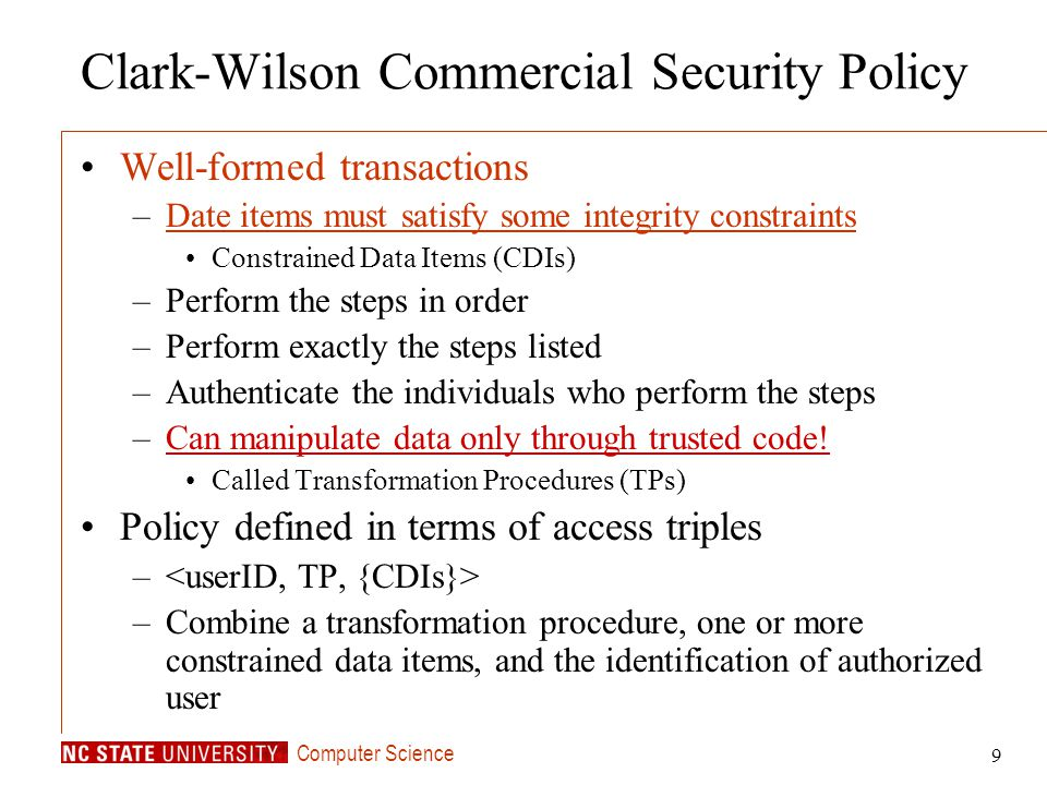 Clark-Wilson Commercial Security Policy