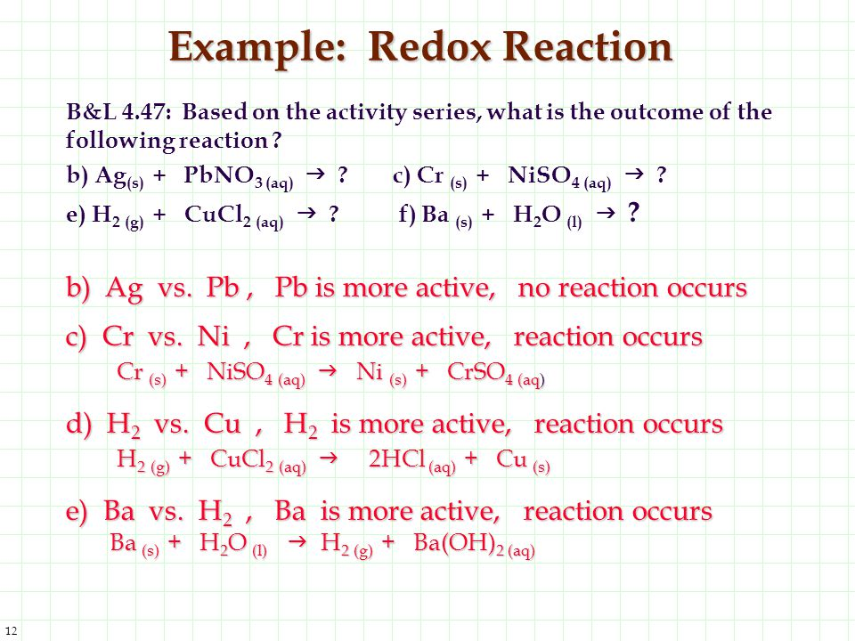 Example: Redox Reaction