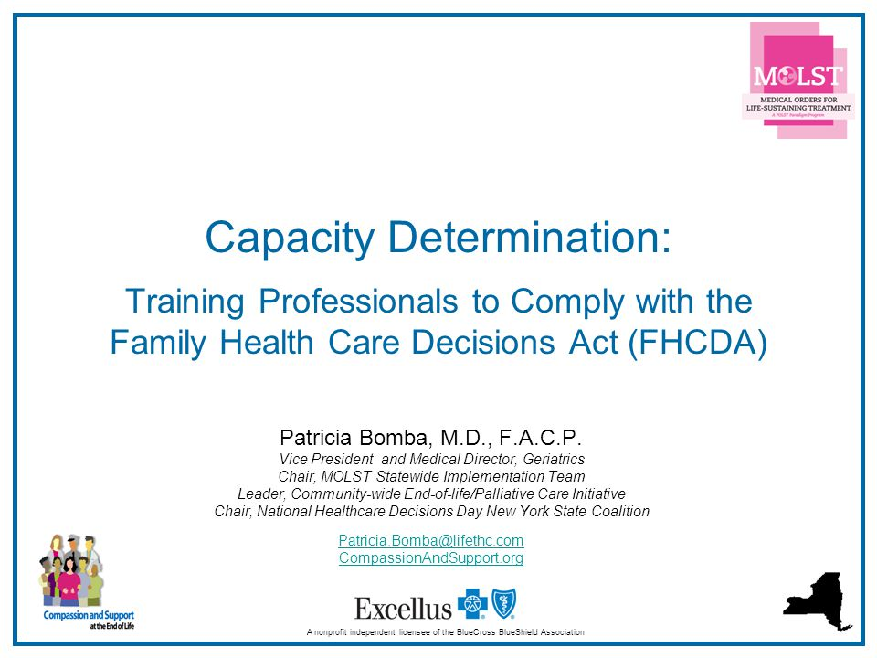 Capacity Determination: Training Professionals to Comply with the Family Health Care Decisions Act (FHCDA)