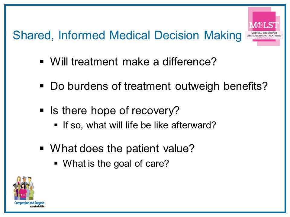 Shared, Informed Medical Decision Making