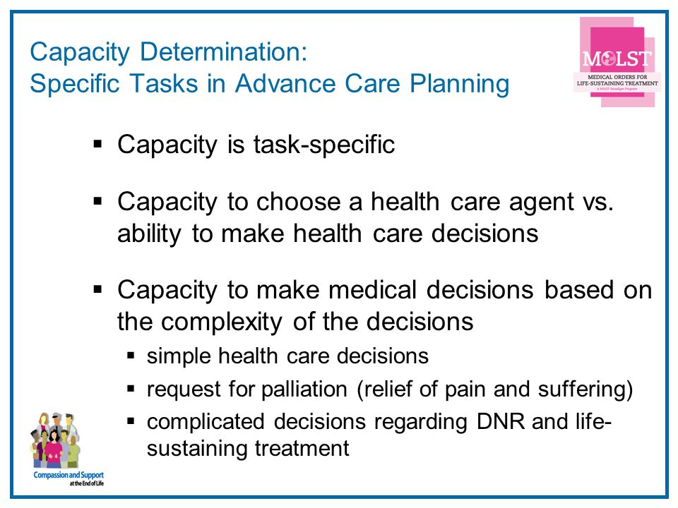 Capacity Determination: Specific Tasks in Advance Care Planning