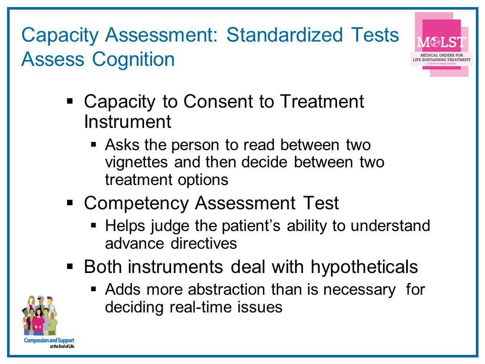 Capacity Assessment: Standardized Tests Assess Cognition