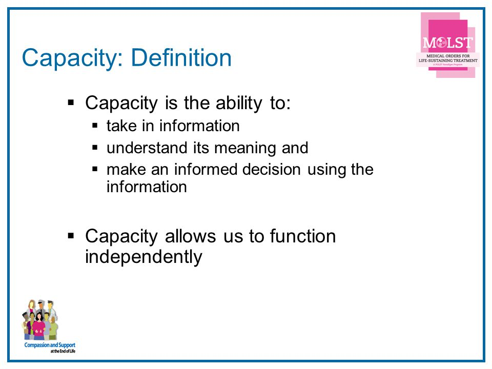 Capacity: Definition Capacity is the ability to: