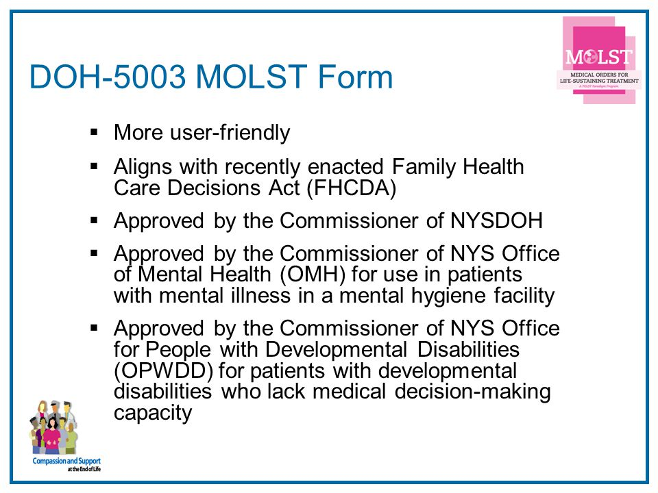 DOH-5003 MOLST Form More user-friendly