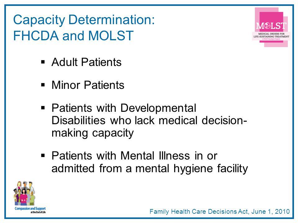 Capacity Determination: FHCDA and MOLST