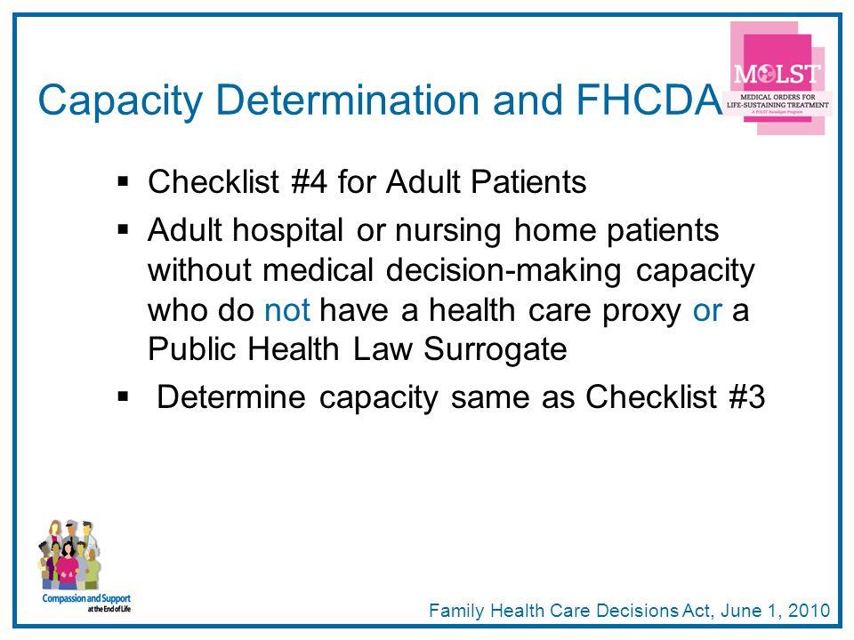 Capacity Determination and FHCDA