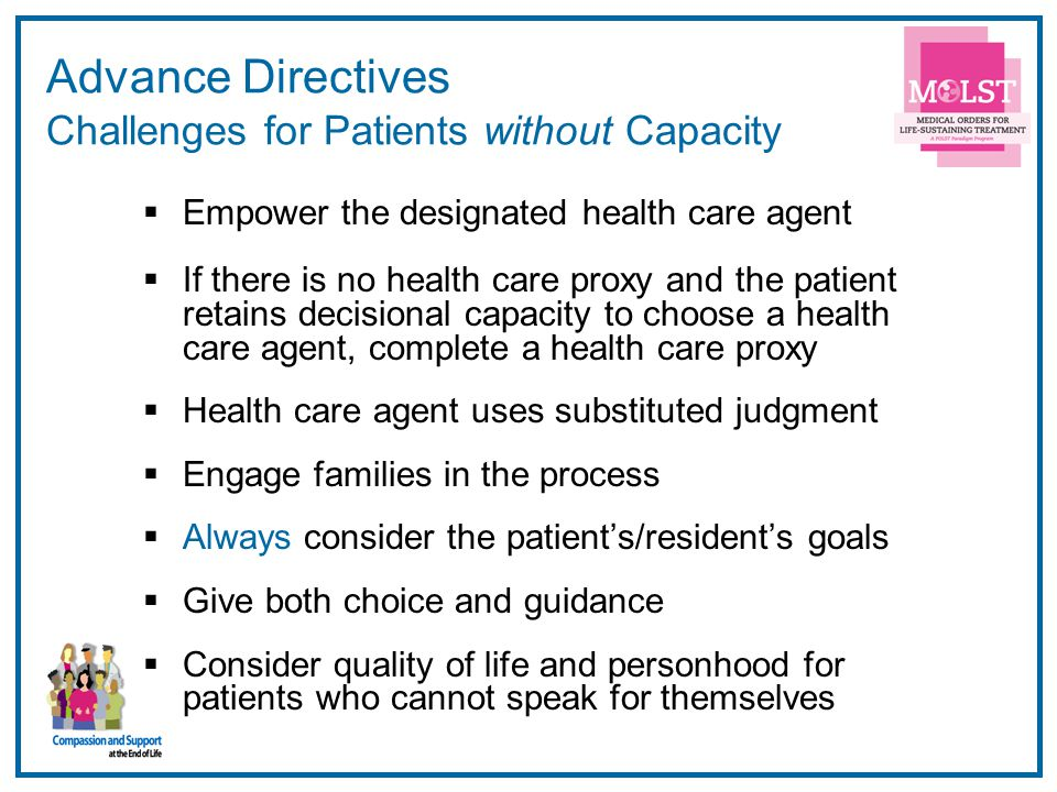 Advance Directives Challenges for Patients without Capacity