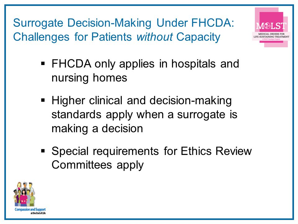 Surrogate Decision-Making Under FHCDA: Challenges for Patients without Capacity