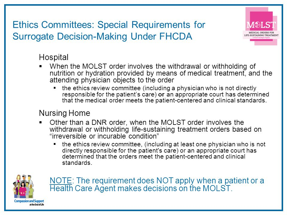 Ethics Committees: Special Requirements for Surrogate Decision-Making Under FHCDA