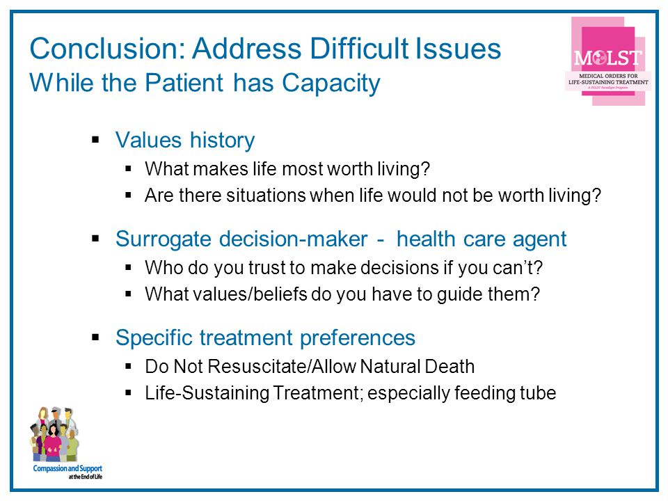 Conclusion: Address Difficult Issues While the Patient has Capacity