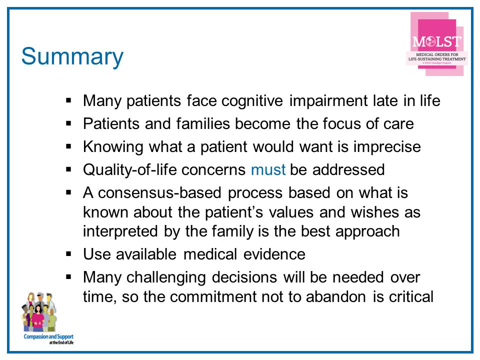 Summary Many patients face cognitive impairment late in life