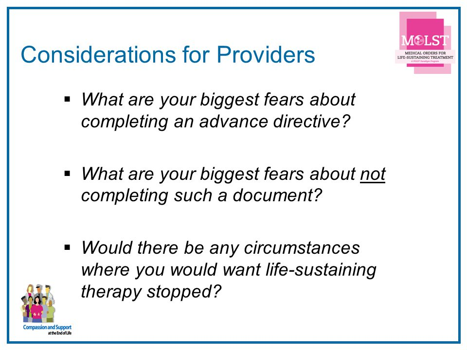 Considerations for Providers