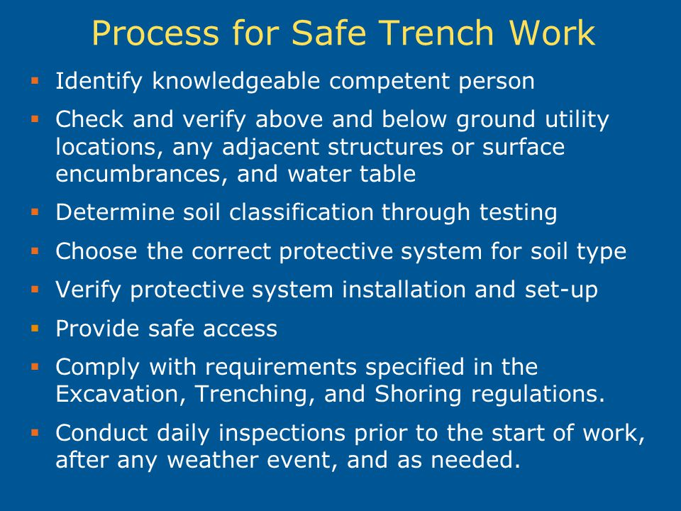 Process for Safe Trench Work