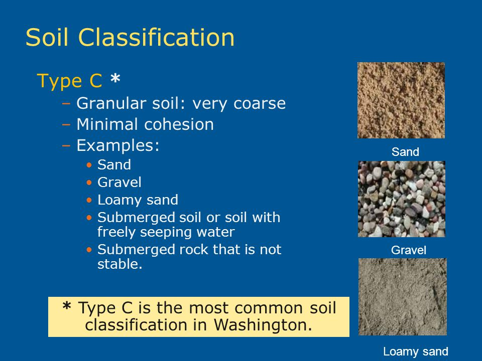 * Type C is the most common soil classification in Washington.
