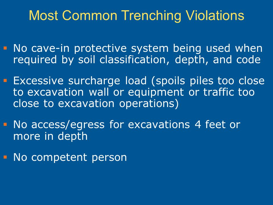 Most Common Trenching Violations