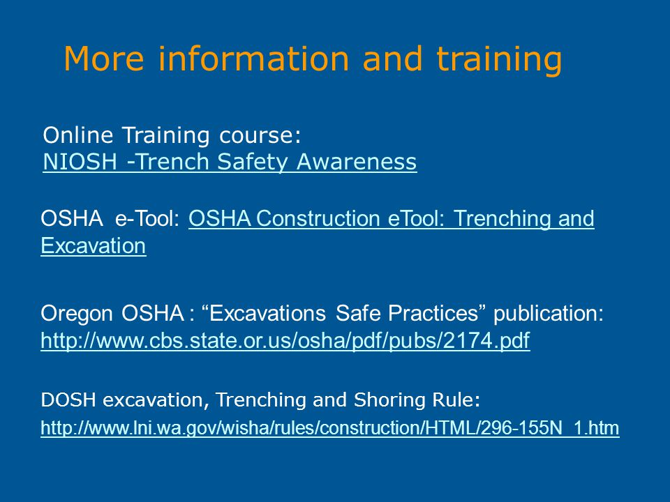 More information and training