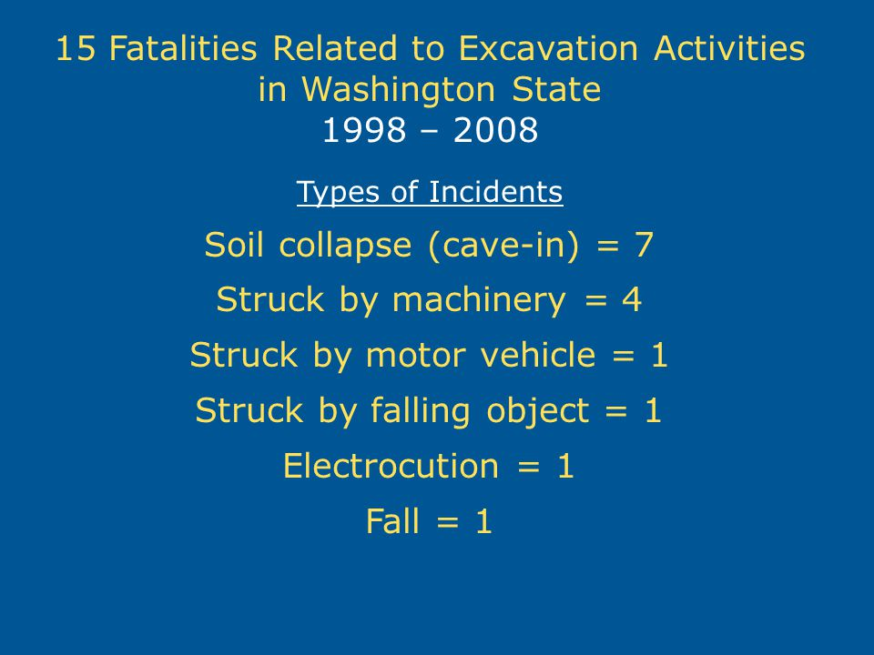 15 Fatalities Related to Excavation Activities in Washington State