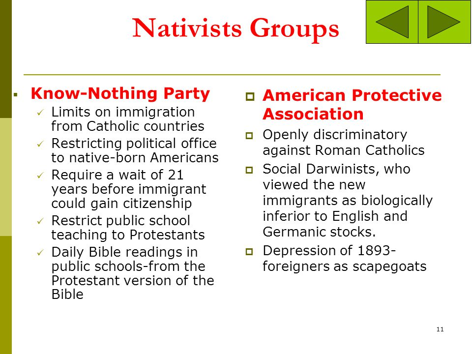 Nativists Groups Know-Nothing Party American Protective Association